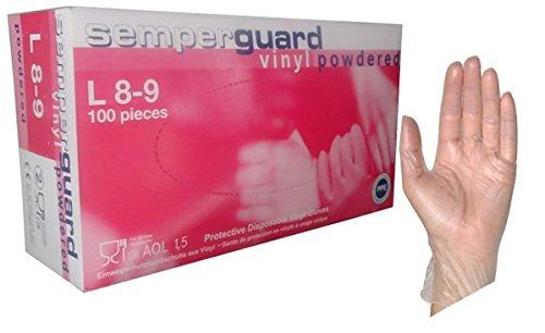 Semperguard 815980029 / 3000001479 Hygienehandschuhe aus Vinyl, gepudert, Größe XL, 9-10, Transparent (90 er-Pack)