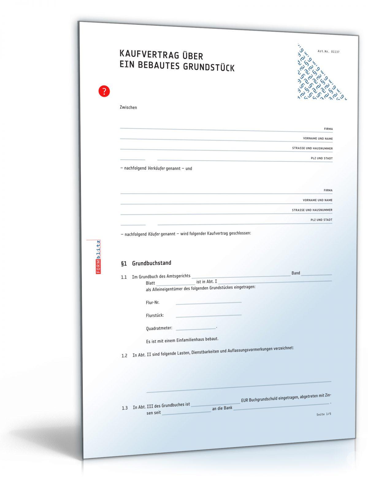 Kaufvertrag Haus (PDF) – Vertrag für Immobilie oder bebautes Grundstück [Download]