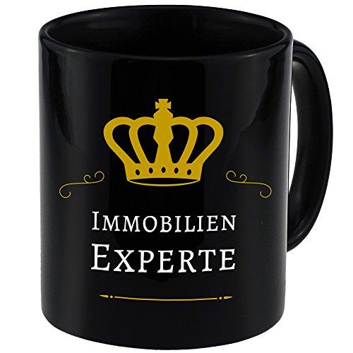 Tasse Immobilien Experte schwarz – Becher Pott Kaffee Tee Lustig Witzig Sprüche