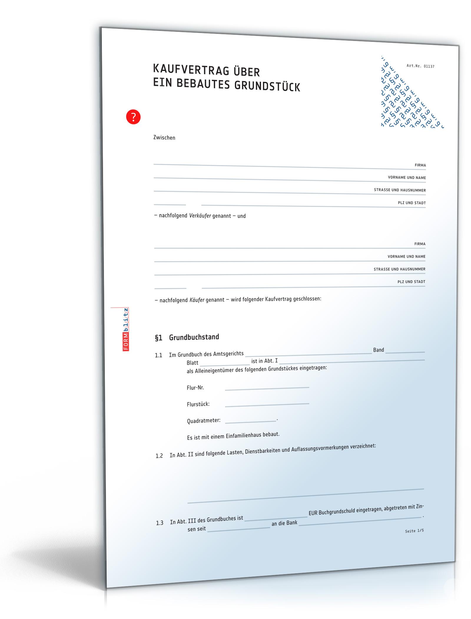 Kaufvertrag Haus (DOC) - Vertrag für Immobilie oder bebautes Grundstück [Download]